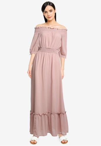 FabAlley pink Smocked Waist Off Shoulder Dress 38E8FAA8E9BFF7GS_1
