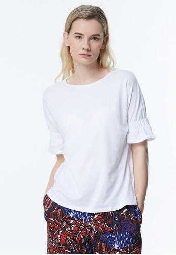 Sisley white Flare Sleeves Blouse 76211AA907368DGS_1