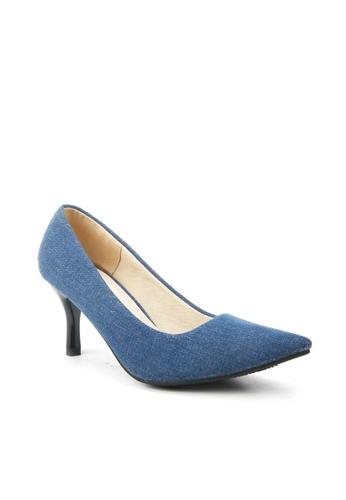 KissXXX 藍色 低反發舒適感美腿效果7CM小尖頭高跟鞋 KI603SH09MPRTW_1