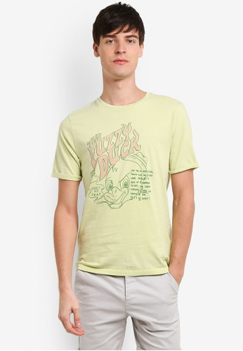 Topman 綠色 上衣man Design Lime 綠色 Fuzzy Duck T卹 TO413AA0RXUQMY_1