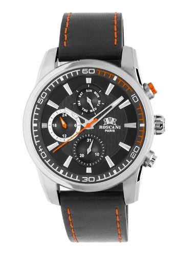 Roscani black Roscani Casey 992 (Multifunction + WR 5ATM) Stainless Steel Orange Leather Men Watch 2F0F6AC466AEFEGS_1