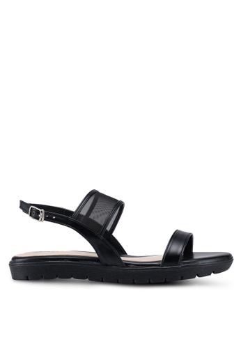 Bata 黑色 透視繞帶涼鞋 CB491SH979F12AGS_1