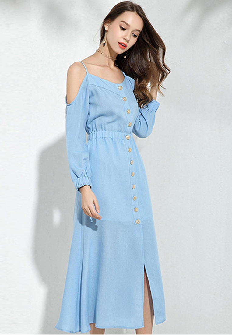 2018 Dress Sunnydaysweety Piece Off New One Down Bottom Blue CA043029BL Shoulder Blue rwvr8xBC