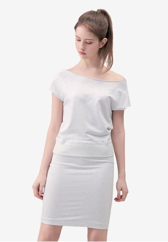 Kodz grey Wide-neck Knee Length Dress EB830AA38DAEB8GS_1