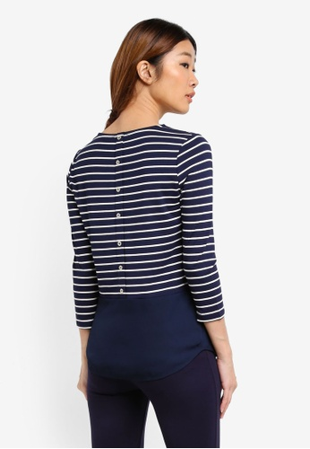 WAREHOUSE blue Stripe Button Back Top 444B3AA76088D5GS_1