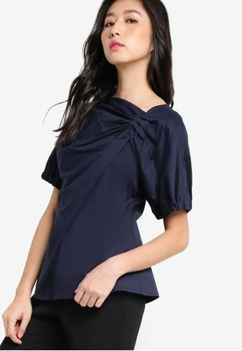 側zalora時尚購物網的koumi koumi抓褶短袖上衣, 服飾, 上衣