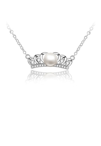 Glamorousky white 925 Sterling Silver Crown Necklace with Freshwater Pearl FC746AC97A9E83GS_1