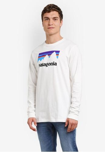 Patagonia white Long Sleeve Shop Sticker Cotton T-Shirt PA549AA0RQCIMY_1