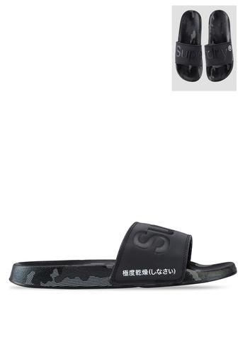 SUPERDRY black All Over Print Beach Sliders - Original & Vintage 973A0SHF2D80C8GS_1