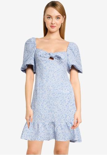 Forever New blue Bonnie Bow Mini Dress D39FEAA4BDB0B3GS_1