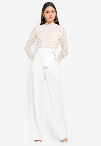 MISSGUIDED white Lace Top Belted Jumpsuit 615C3AA6346BC9GS_1