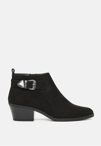 London Rag black Stack Heel Ankle Boots with Engraved Buckle SH1766 CE9C4SHEAD4B6CGS_1
