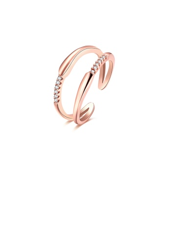 Glamorousky white Fashion Plated Rose Gold Double Line Cubic Zircon Adjustable Split Ring D72AAAC9C0E9EBGS_1