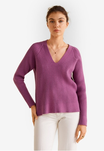 Mango purple Ribbed Knit Sweater 15164AA9E10FFDGS_1