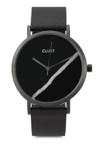 La Roche esprit tote bag大理石真皮圓錶, 錶類, 皮革錶帶
