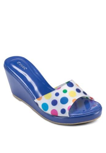 點點印esprit 京站花楔形涼鞋, 女鞋, 楔形涼鞋