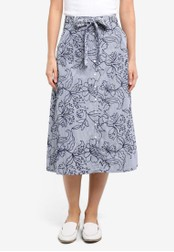ZALORA blue Midi Skirt With Self Fabric Tie 61CB0AA631FCE4GS_1