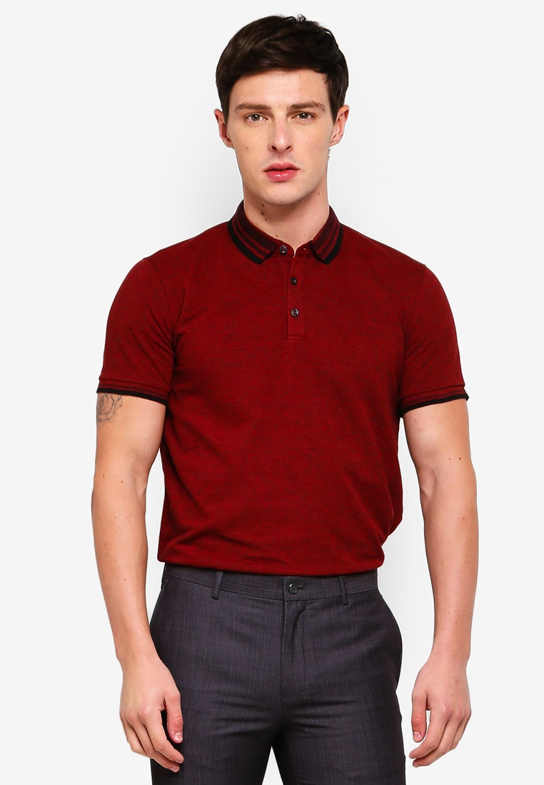 Lipstick Polo Collar Shirt Red G2000 2 Tone Pique Bq8YP