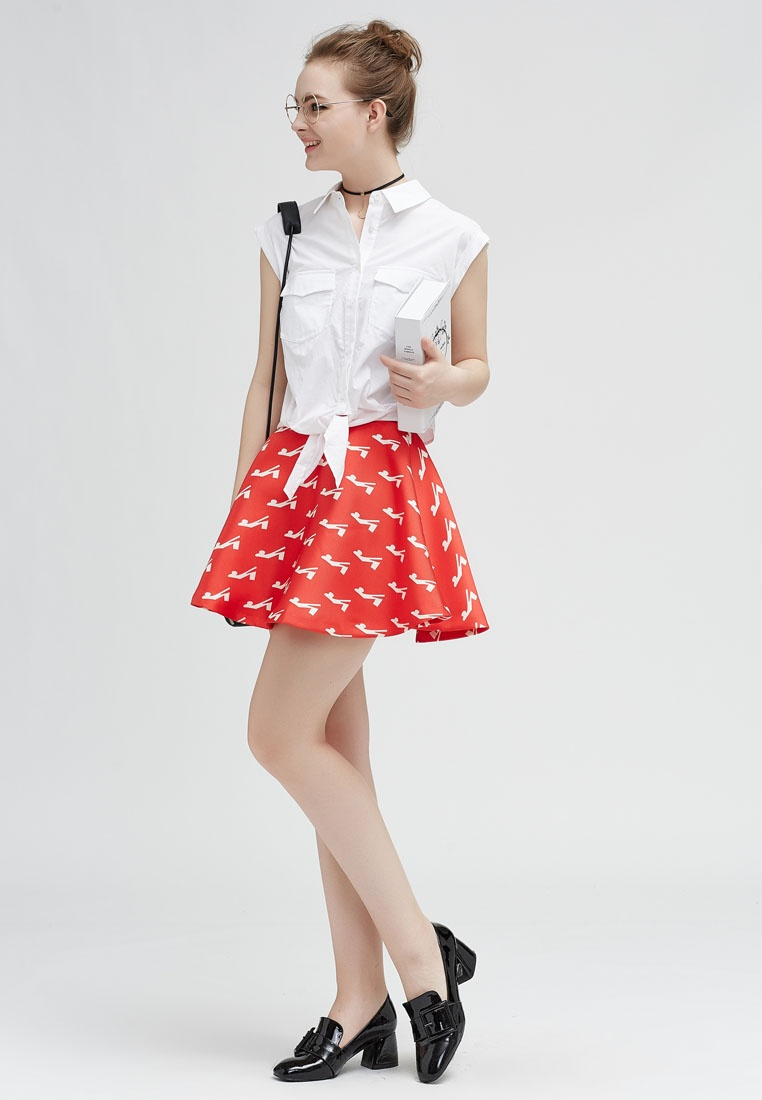 Printed Hopeshow Orange Skirt Mini Flare Ff7qU