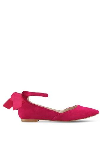 Velvet pink Ankle Strap Ballerinas 1681DSHB438A64GS_1