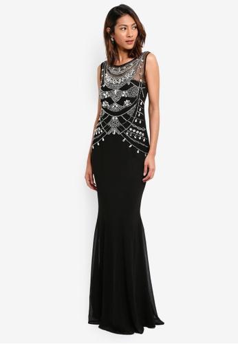 Goddiva black Embellished Bodice Chiffon Maxi Dress 708D5AA41DD65CGS_1