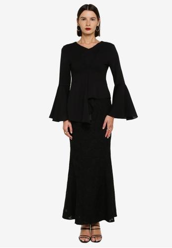 Zalia 黑色 Asymmetrical Peplum Kurung 5D437AA1B402C8GS_1