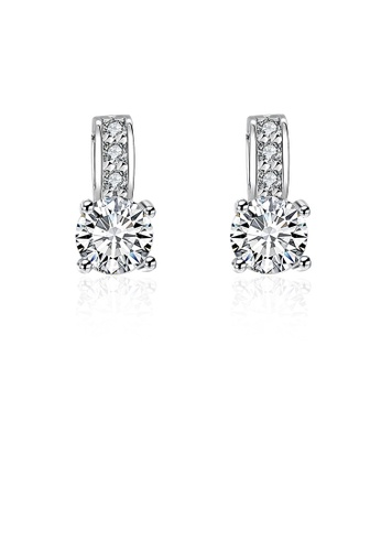 Glamorousky white Fashion Bright Geometric Round Cubic Zirconia Stud Earrings EE09BACED3E90AGS_1