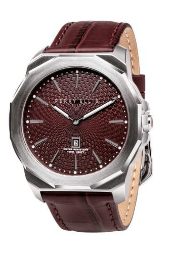 Perry Ellis brown Perry Ellis Decagon Men 46mm Quartz Watch 05003-01 1E661AC53630B8GS_1