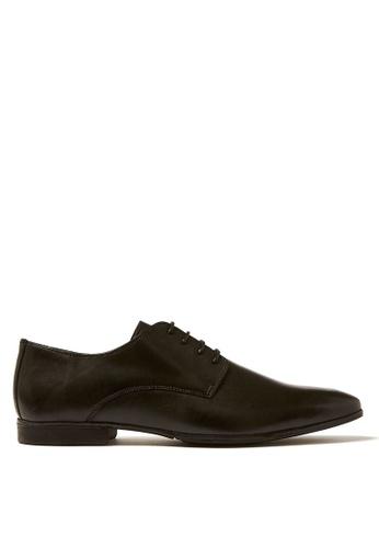 Topman black Black Leather Fly Derby Shoes 7B5CDSH8B0C6C0GS_1