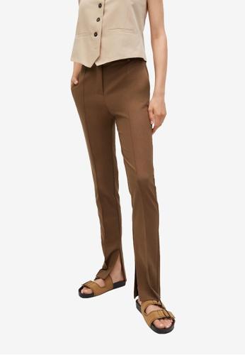 Mango brown Slit Hem Trousers 673C3AA8E1E627GS_1