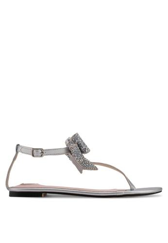 Velvet silver Bow Detail Sandals 6D049SH98F416DGS_1