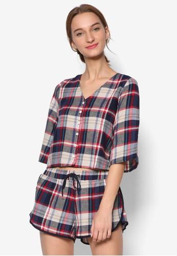 格紋短襯衫短褲睡衣esprit hk store組合, 服飾, 服飾