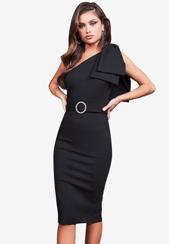 Lavish Alice black Statement Bow Shoulder Ponte Midi Dress EFCD9AA6AFA67BGS_1