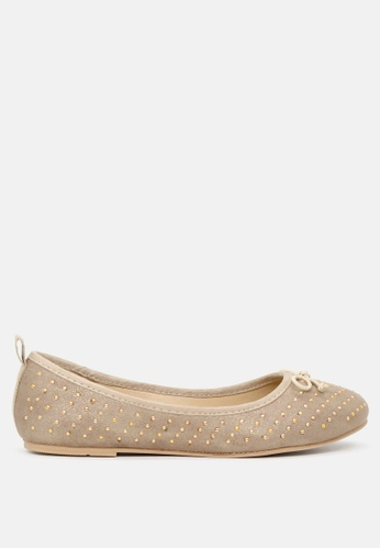 London Rag gold Golden Ballerina Flats with Gold Studs 72AC9SH7A91E63GS_1