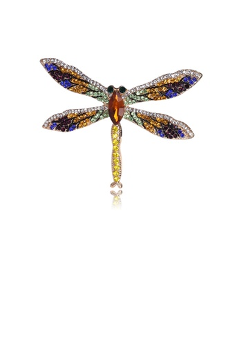 Glamorousky silver Fashion Bright Colorful Dragonfly Brooch with Cubic Zirconia 1A8ABAC18F0CA2GS_1