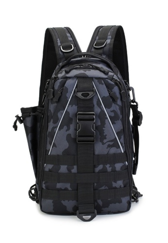 Lara black Men's Outdoor Sports Day-pack Laptop Backpack - Black Camouflage E5B0DACCCBBC4CGS_1