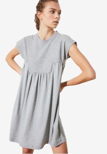 Trendyol grey Cut Detailed Dress 64365AAC4F264AGS_1