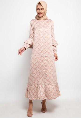 COME pink Print Dress With Button 3F1E2AA9FA2A5FGS_1