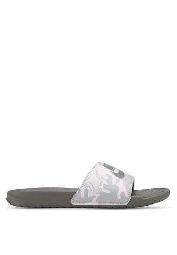 "Nike grey Nike Benassi ""Just Do It."" Print Sandals 4B295SH0CDBE16GS_1"