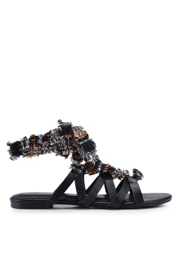 ZALORA black Lace Up Gladiator Sandals 7588BSH15C4A69GS_1