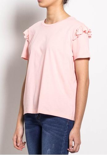 SUB pink Women Short Sleeve Ruffled Basic Tee E0C6AAA39F987AGS_1