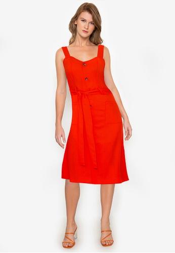 ZALORA BASICS orange Button Front Midi Sun Dress EF0A3AAE76C331GS_1
