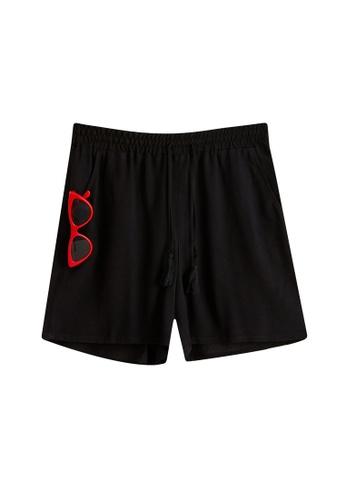 LC Waikiki black Elastic Waist Viscose Shorts 7D79BAA6A4399DGS_1