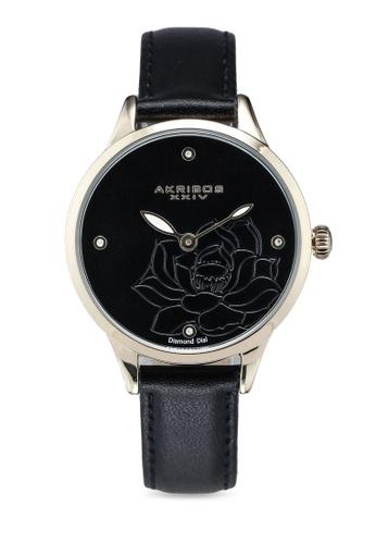 Akribos XXIV black Diamond Floral Watch 291B7AC932EA7BGS_1