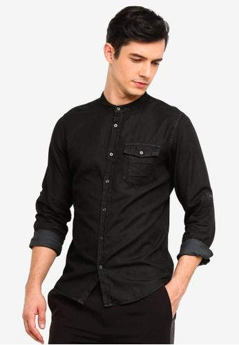 OVS 黑色 丹寧襯衫 With 中山領 E152CAAF3F5C47GS_1