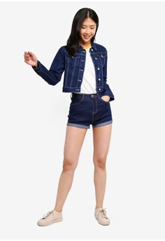 ac75bf2d46e ZALORA BASICS Basic Denim Turn-Up Shorts S  22.90. Sizes M L XL