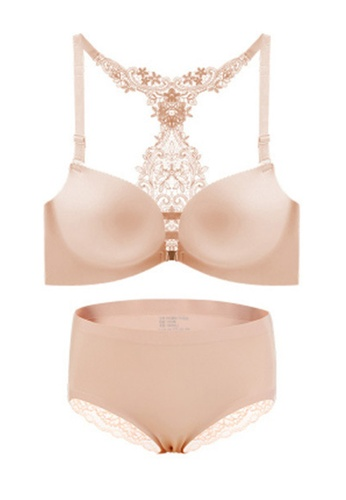 ZITIQUE beige Women's European Style Lace Lingerie Set (Bra And Underwear) - Beige 59905US60A95E9GS_1