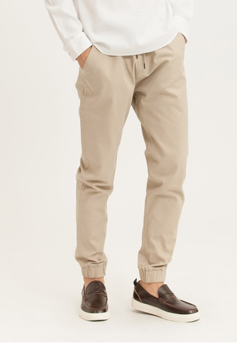 H:CONNECT brown Drawstring Solid Color Pants 4DCD8AAD8D6A08GS_1