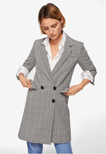 Mango black Checked Structured Coat C6E3CAA3D7104DGS_1