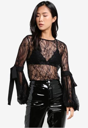 Miss Selfridge black Black Lace Extreme Sleeve Blouse MI665AA0S2L1MY_1